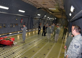 Inter-American Air Forces Academy students and instructors tour the cargo bay of a C5-M Super Galaxy March 18, 2019 at Joint Base San Antonio-Lackland, Texas.