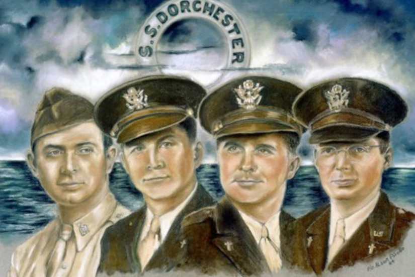 Painted portraits of the four chaplains with the sea in the background.
