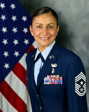 Official Portrait of Chief Master Sgt. Cynthia Villa, 452nd Air Mobility Wing Command Chief (Air National Guard Photo by TSgt Neil Ballecer / Released)