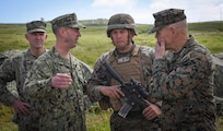 190319-N-YG104-0033 SAN CLEMENTE ISLAND, Calif. (March 19, 2019) Chief of Naval Operations (CNO) Adm. John Richardson (center) and Commandant of the Marine Corps Gen. Robert B. Neller and speak to Marines during Pacific Blitz 2019. Pacific Blitz provides relevant training that replicates a realistic maritime threat environment designed to improve naval amphibious core competencies necessary for effective, global crisis response expected of the Navy and Marine Corps. (U.S. Navy photo by Mass Communication Specialist 1st Class Sarah Villegas)