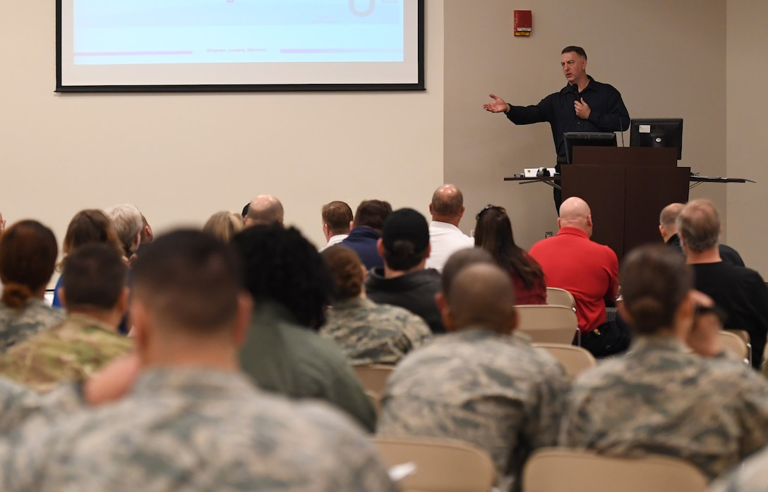 Bill Mays, 81st Training Wing wing inspection team lead, addresses members of the Keesler Crisis Action Team and first responders from both Keesler and the local communities during a joint table top exercise inside the Roberts Consolidated Aircraft Maintenance Facility at Keesler Air Force Base, Mississippi, March 21, 2019. The event, which was in preparation for the upcoming major accident response exercise in April, allowed attendees to review and discuss tactical and strategic planning in the case of a crisis situation. (U.S. Air Force photo by Kemberly Groue)