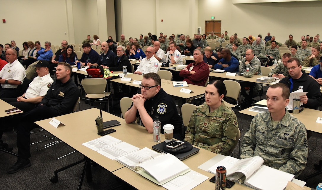 Members of the Keesler Crisis Action Team and first responders from both Keesler and the local communities attend a joint table top exercise inside the Roberts Consolidated Aircraft Maintenance Facility at Keesler Air Force Base, Mississippi, March 21, 2019. The event, which was in preparation for the upcoming major accident response exercise in April, allowed attendees to review and discuss tactical and strategic planning in the case of a crisis situation. (U.S. Air Force photo by Kemberly Groue)