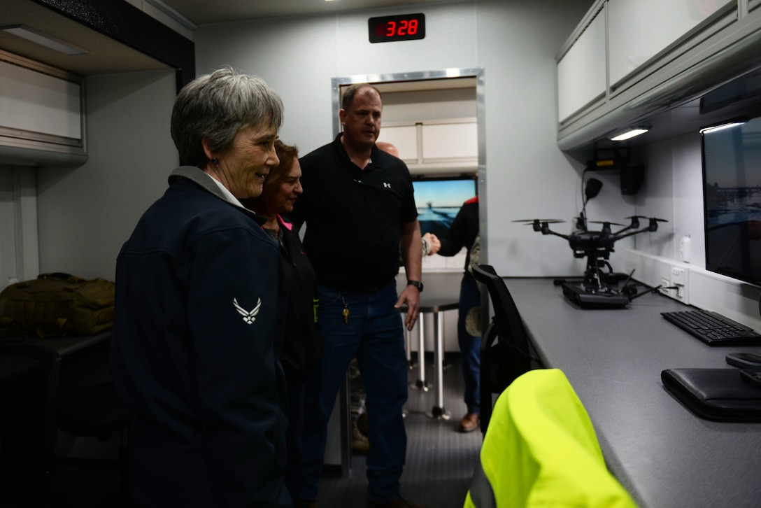 Secretary of the Air Force Heather Wilson tours the 55th Wing's mobile Emergency Operations Center March 22, 2019, at Offutt Air Force Base, Nebraska. A week earlier the base began taking on flood waters that eventually covered one-third of the installation. (U.S. Air Force photo by Tech. Sgt. Rachelle Blake)