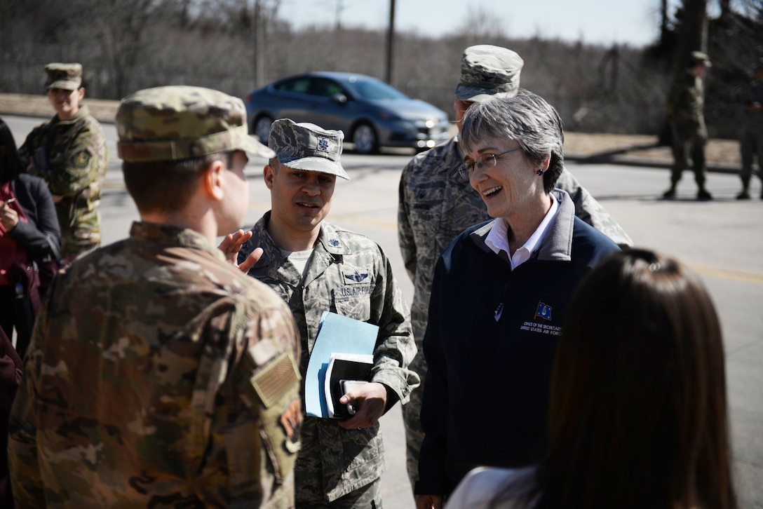 Secretary of the Air Force Heather Wilson talks to members of the 55th Wing March 22, 2019, at Offutt Air Force Base, Nebraska. A week earlier the base began taking on flood waters that eventually covered one-third of the installation. (U.S. Air Force photo by Tech. Sgt. Rachelle Blake)