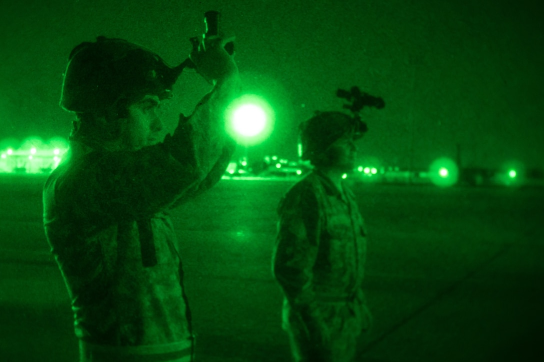 Chilean Air Force Airmen 1st Class Leandro Torti, an electrician, and Staff Sergeant Cristian Venegas, an expediter, both with the 10th Chilean Aviation Group, test night vision equipment July 25, 2018, at Naval Air Station Fort Worth Joint Reserve Base, Texas. The Chilean Air Force visited the 136th Airlift Wing as part of the State Partnership Program, which forges mutually beneficial partnerships with some of the Wing's staunchest allies and partners worldwide. (U.S. Air National Guard photo by Tech. Sgt. Lynn Means)