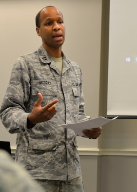 U.S. Air Force Capt. Jeremy McCray, 136th Medical Group Medical Service Corps officer, presents his idea for a secure, digital faxing system to a panel of 136th Airlift Wing Airmen during the wing's Spark Tank competition Oct. 20, 2018.  The fax system would enable his unit to send and receive patient's documents from outside medical providers. (U.S. Air National Guard photo by Senior Airman Bryan Swink)