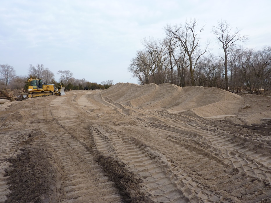 USACE works on Union Dike restoration after March 2019 runoff event Mar. 22, 2019. (Photo by USACE, Omaha District)