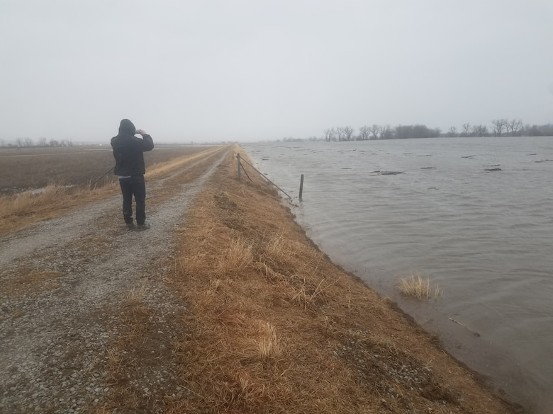 L611-614 South of HWY34 Looking Downstream Mar.14, 2019. (Photo by USACE, Omaha District)