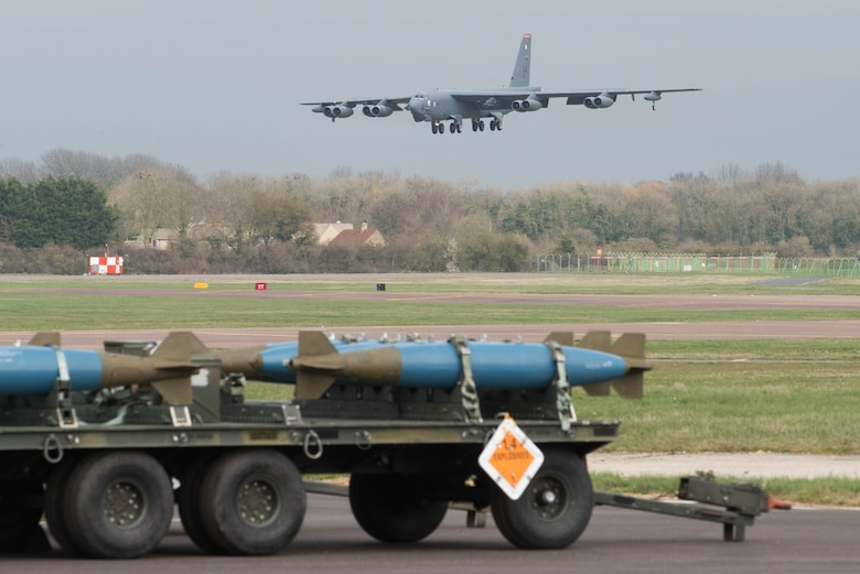 A B-52 Stratofortress lands on the flight line at RAF Fairford