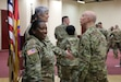 Chief Warrant Officer Five Martha Ervin relinquished responsibility as the Command Chief Warrant Officer of the 7th Mission Support Command to Chief Warrant Officer Five Vikki Hecht during a ceremony March 23 at the Kaiserslautern Community Activity Center, Germany.
