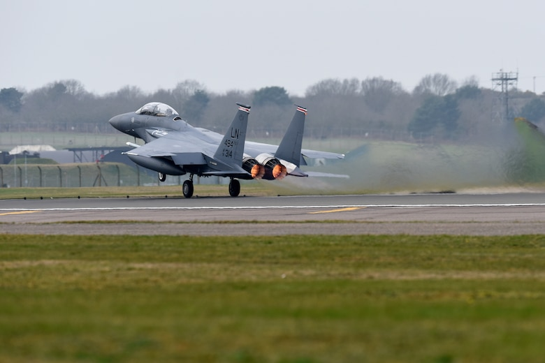 F-15E Strike Eagle takes off at RAF Lakenheath, England.