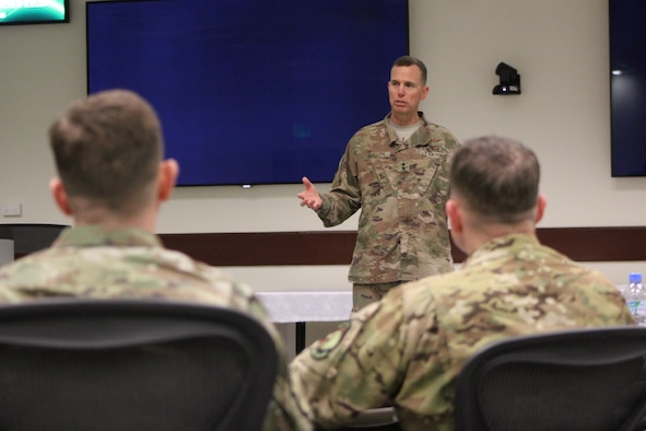U.S. Air Force Maj. Gen. Gregory Guillot, Deputy Combined Forces Air Component Commander, provides closing comments during the Chiefs of Safety Conference on Al Udeid Air Base, Qatar, March 19, 2019. Attendees across five different major commands shared lessons learned to improve U.S. Air Forces Central Command flight, occupational and weapons safety. (U.S. Air Force photo by SrA Jourdan Barrons)