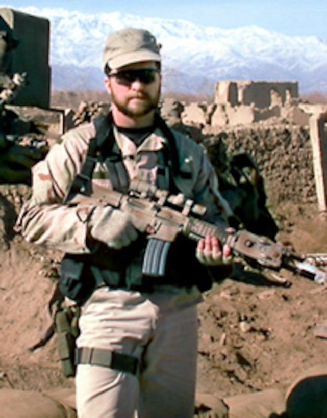 Master Sgt. John Chapman, an Air Force combat controller, was killed during a battle against al-Qaida fighters in Afghanistan, March 4, 2002. He was posthumously awarded the Medal of Honor in August and his name was added to the Medal of Honor Wall at the U.S. Air Force Academy, Nov. 8. (U.S. Air Force photo)