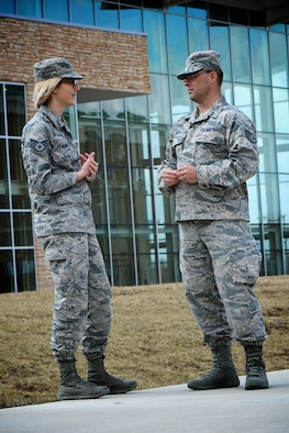 Staff Sgt. Jennifer Demand answers questions from a new recruiter, Staff Sgt. Donovan Kline, during a college outreach visit at the University of Illinois March 21, 2019, in Springfield, Illinois.  The two met with counselors and interviewed perspective recruits on what it means to serve in the Air Force Reserve Command.  After additional shadowing training at Scott Air Force Base, Sergeant Kline will move on to his first duty location in Wichita, Kansas.  (U.S. Air Force photo by Lt. Col. Stan Paregien)