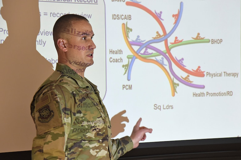 U.S. Air Fore Tech. Sgt. Curtis Brooks, 92nd Medical Group physical therapy flight chief, discusses the innovative new ways the Human Performance Cell is improving the health of Airmen across the wing at Fairchild Air Force Base, Washington, March 22, 2019. The HPC is composed of numerous medical specialists who deliver one-on-one, personalized care to address specific physical demands required by various career fields. (U.S. Air Force photo by Staff Sgt. Mackenzie Mendez)