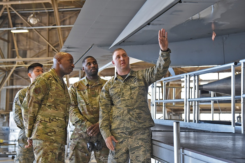 Airmen from the 92nd and 141st Maintenance Groups conduct a walkthrough of the KC-135 Stratotanker with Chief Master Sgt. of the Air Force Kaleth O. Wright at Fairchild Air Force Base, March 22, 2019. The maintenance groups have been working together to improve periodic inspection processes in order to prepare for the increase of KC-135s at the base and meet Air Mobility Command standards and mission taskings. (U.S. Air Force photo by Staff Sgt. Mackenzie Mendez)