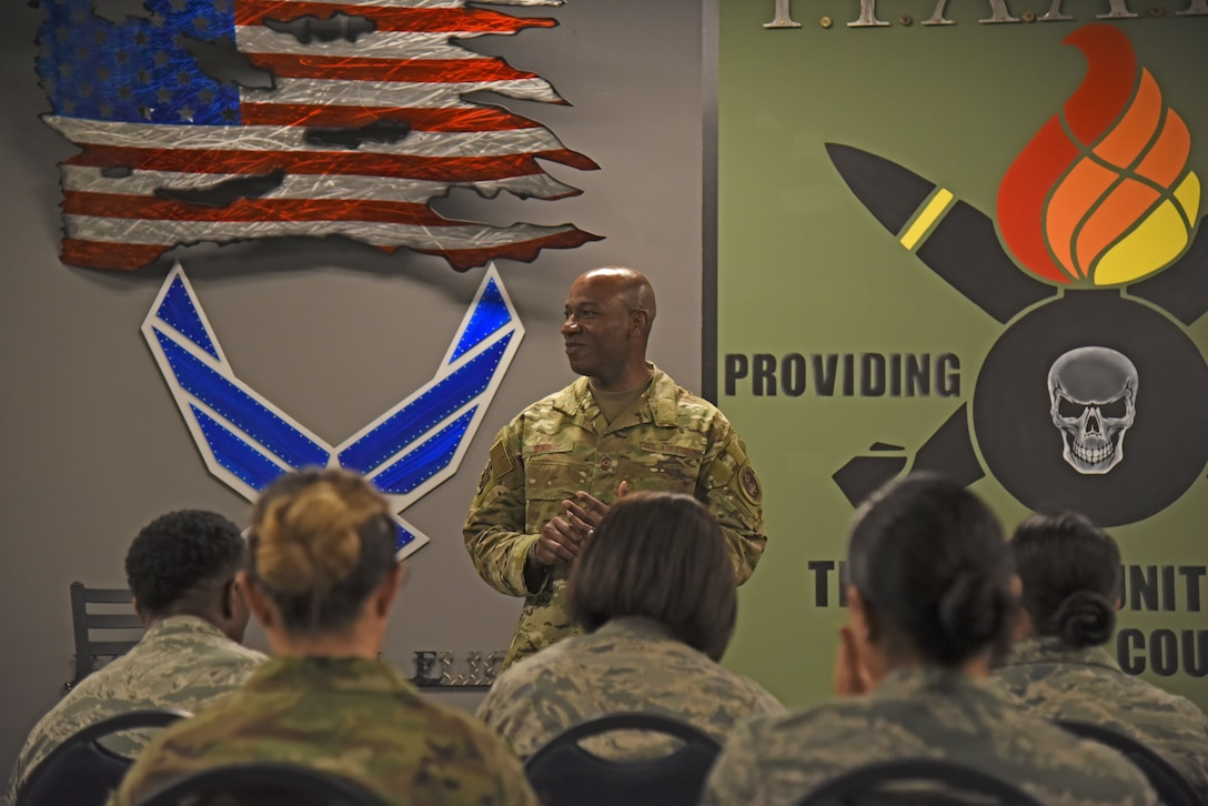 Chief Master Sgt. of the Air Force Kaleth O. Wright meets with Team Fairchild NCOs and company grade officers during a round table discussion at Fairchild Air Force Base, Washington, March 22, 2019. Wright discussed the future of the force, innovation and the importance of taking care of Airmen. (U.S. Air Force photo by Staff Sgt. Mackenzie Mendez)