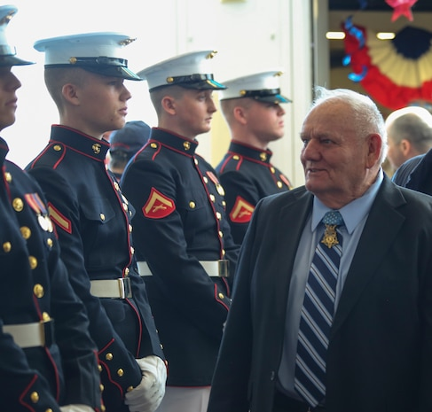 Marines with Alpha Company, Marine Barracks Washington D.C., support the annual Medal of Honor (MoH), Honor Flight at Ronald Reagan National Airport, Washington, D.C., March 23, 2019.