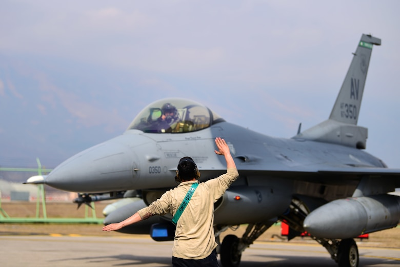 A 555th Fighter Squadron F-16 Fighting Falcon prepares to take off in support of Exercise African Lion at Aviano Air Base, Italy, March 14, 2019. The annual exercise provides training for U.S. and Moroccan forces and further develops tactics, techniques and procedures of all participating nations. (U.S. photo by Senior Airman Kevin Sommer Giron)