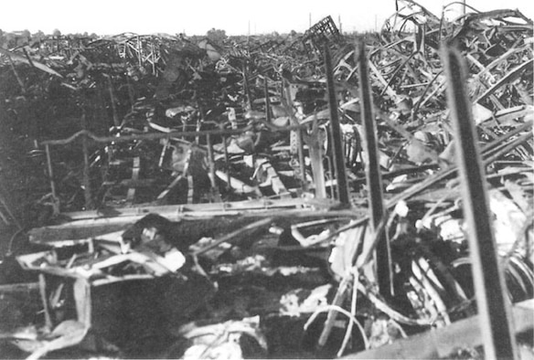 American bombing attack on the railyard at Chalon, France in spring 1944 turned the facilities into a mass of twisted steel and rubble. Allied operations planers, however, discovered that most railyards required several periodic attacks to keep them unusable. (USAAF archival photo)