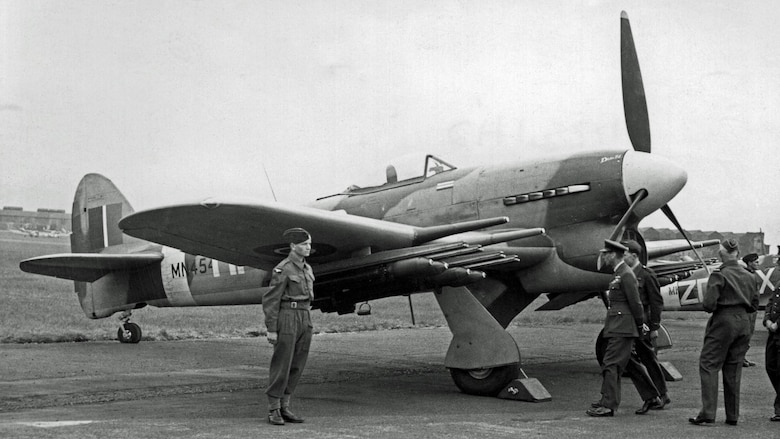 British Hawker Typhoon ground attack aircraft, armed with four cannons, eight unguided air-to-ground rockets and two 500- or 1,000-pound bombs. The Royal Air Force contributed the Hawker Typhoon for tactical attacks on various types of ground targets during the implementation of the Transportation Plan. (USAAF archival photo)