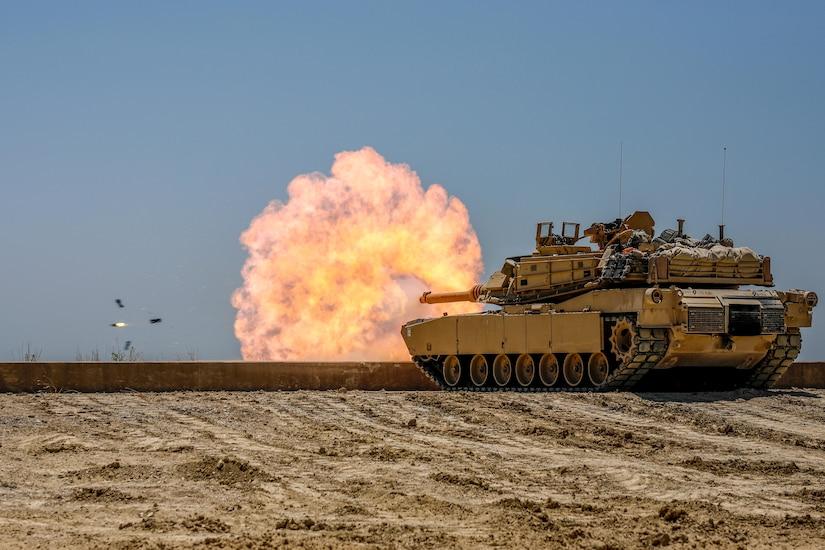 A tank fires.