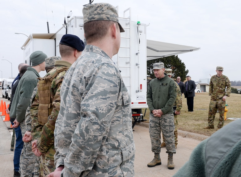 U.S. Air Force Gen. Mike Holmes, commander of Air Combat Command, thanks a few of the many men and women who worked to fortify the base before the flood waters hit and those who are supporting its recovery efforts during his visit to Offutt Air Force Base, Nebraska, on March 25, 2019. Offutt is the second ACC installation to sustain damage in the last year due to a natural disaster. In October, Tyndall Air Force Base, Florida, was damaged by Hurricane Michael. (Photo by Charles Haymond)