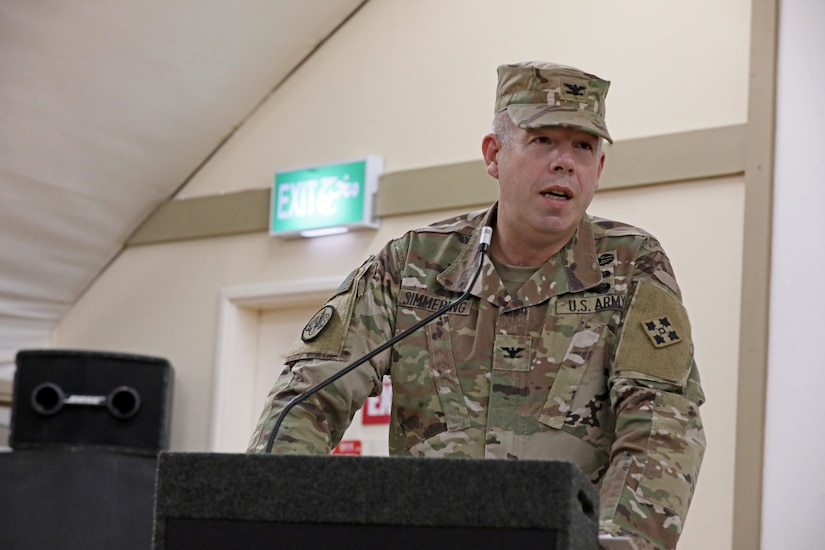 Col. Michael J. Simmering, commander of the 3rd Armored Brigade Combat Team, 4th Infantry Division, addresses guests at a transfer of authority ceremony at Camp Buehring, Kuwait on March 23, 2019. Simmering assumed authority for the brigade combat team mission within Task Force Spartan, commanded by the Minnesota National Guard's 34th Infantry Division, in support of Operation Spartan Shield.