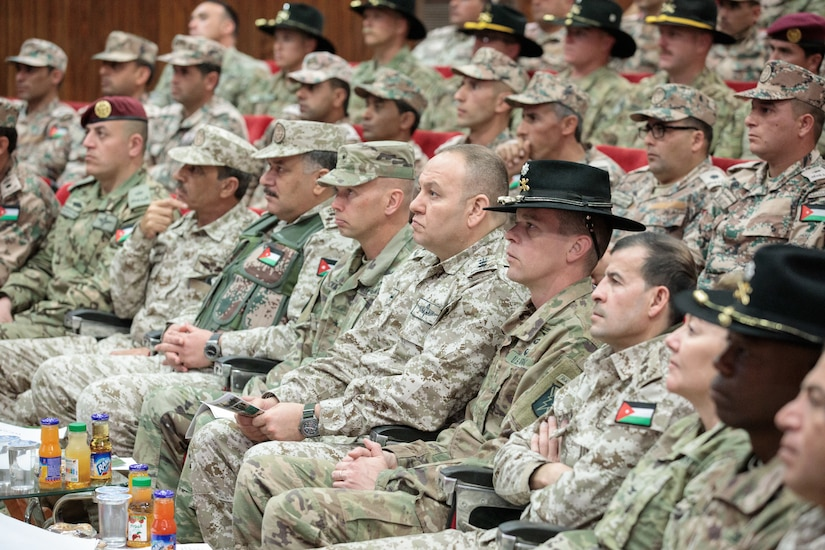 U.S. Army and Jordan Armed Forces senior leadership attend a graduation ceremony for the JAF 10th Border Guard Force Battalion at the Peace Operations Training Center near Amman, Jordan, March 14, 2019. The 10th BGF graduated from the Joint Operational Engagement Program where they trained with the California Army National Guard's 1st Squadron, 18th Cavalry Regiment for ten weeks to enhance the BGF readiness to protect and secure Jordan's borders.