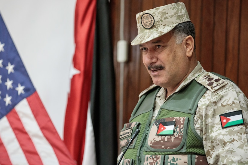 Jordan Armed Forces Brig. Gen. Khalid Mohammed Al-Masaeid, Northern Region commander, speaks during the JAF's 10th Border Guard Force Battalion graduation from the Joint Operational Engagement Program, March 14, 2019, at the Peace Operations Training Center near Amman, Jordan. The 10th BGF will head to the outer limits of Jordan and defend their borders using the training and experience they gained from the JOEP.