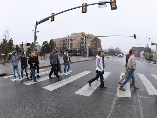 It's not Abbey Road and the Beatles, but Airmen from Tinker Air Force Base's First Term Airmen Center are captured crossing the road in the music/entertainment district of downtown Oklahoma City during a special tour hosted by the OKC Convention and Visitors Bureau on March 8, 2019.
