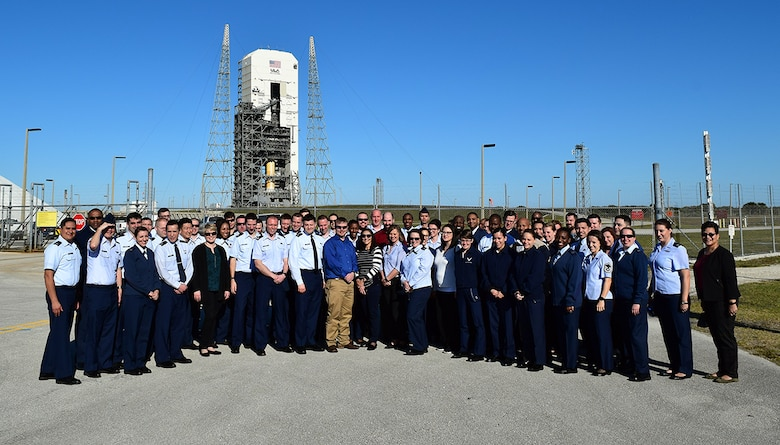 EWI Fellows at Cape Canaveral Space Launch Complex 37.  During the EWI Mid Tour Review, Fellows toured both the United Launch Alliance and Lockheed Martin Missiles & Fire Control facilities.  Senior leadership from both companies took the time to provide their perspective on partnering with industry and shared what's made them successful. (U.S. Air Force Photo by Capt Frank Larkins)