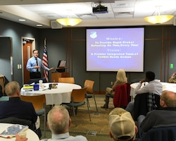 U.S. Air Force Col. Robert Talton, commander of the 916th Aerospace Medicine Squadron speaks at the Three Eagles Rotary Club on March 20, 2019 in Goldsboro, N.C.