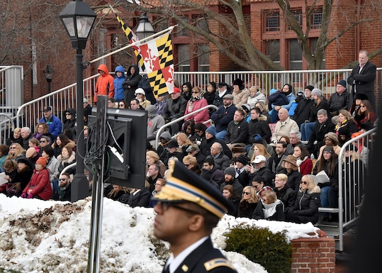 Members of the Maryland National Guard provide support for Gov. Larry Hogan's inauguration, Jan.16, 2019 in Annapolis, Maryland. Members escorted key attendees during the outside ceremony as well as assisted with logistics and security. (U.S. Air National Guard photo by Staff Sgt. Enjoli Saunders)