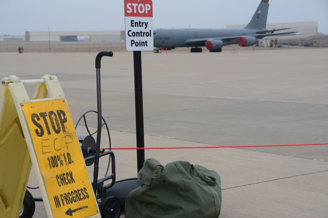 An entry control point is set up on the 507th Air Refueling Wing flightline during an exercise geared toward wartime preparation and readiness March 2, 2019, at Tinker Air Force Base, Oklahoma. The 507th Air Refueling Wing's unit effectiveness inspection capstone event is scheduled for Nov. 15-19, 2019. (U.S. Air Force photo by Tech. Sgt. Lauren Gleason)