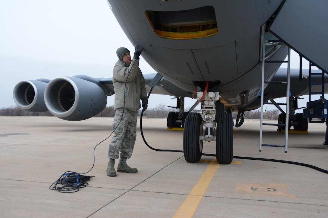 Staff Sgt. Aaron Plourde, 507th Aircraft Maintenance Squadron, performs pre-flight checks on a KC-135 Stratotanker during an exercise geared toward wartime preparation and readiness March 2, 2019, at Tinker Air Force Base, Oklahoma. The 507th Air Refueling Wing's unit effectiveness inspection capstone event is scheduled for Nov. 15-19, 2019. (U.S. Air Force photo by Tech. Sgt. Lauren Gleason)