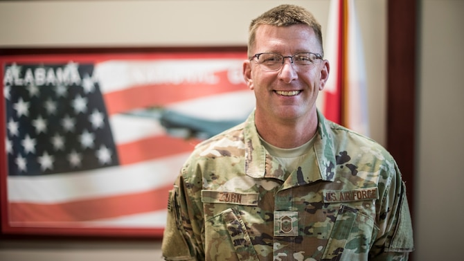 Senior Master Sgt. James Zorn, 187th Fighter Wing first sergeant, poses for a portrait March 3, 2019, at Dannelly Field, Ala. (U.S. Air National Guard photo by Senior Airman Hayden Johnson)