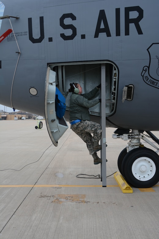 Staff Sgt. Kaycee Lebavitz, 507th Maintenance Squadron, climbs into 507th Air Refueling Wing KC-135 Stratotanker on the flightline during an exercise geared toward wartime preparation and readiness March 2, 2019, at Tinker Air Force Base, Oklahoma. The 507th Air Refueling Wing's unit effectiveness inspection capstone event is scheduled for Nov. 15-19, 2019. (U.S. Air Force photo by Tech. Sgt. Lauren Gleason)