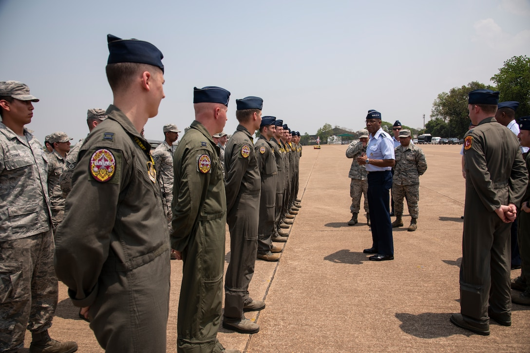 U.S. Air Force Gen. CQ Brown Jr., Pacific Air Forces commander, thanks Airmen from the 35th Fighter Wing following the COPE Tiger 2019 closing ceremony at Korat Royal Thai Air Force Base, Thailand, March 22, 2019.