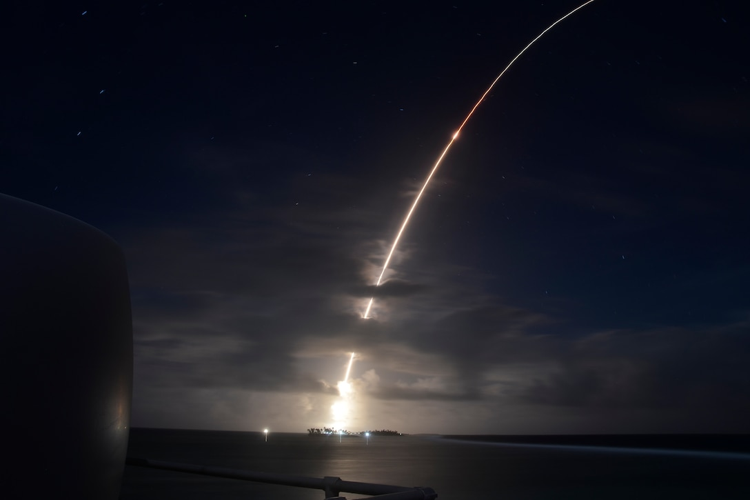 A missile target is launched into a night sky.