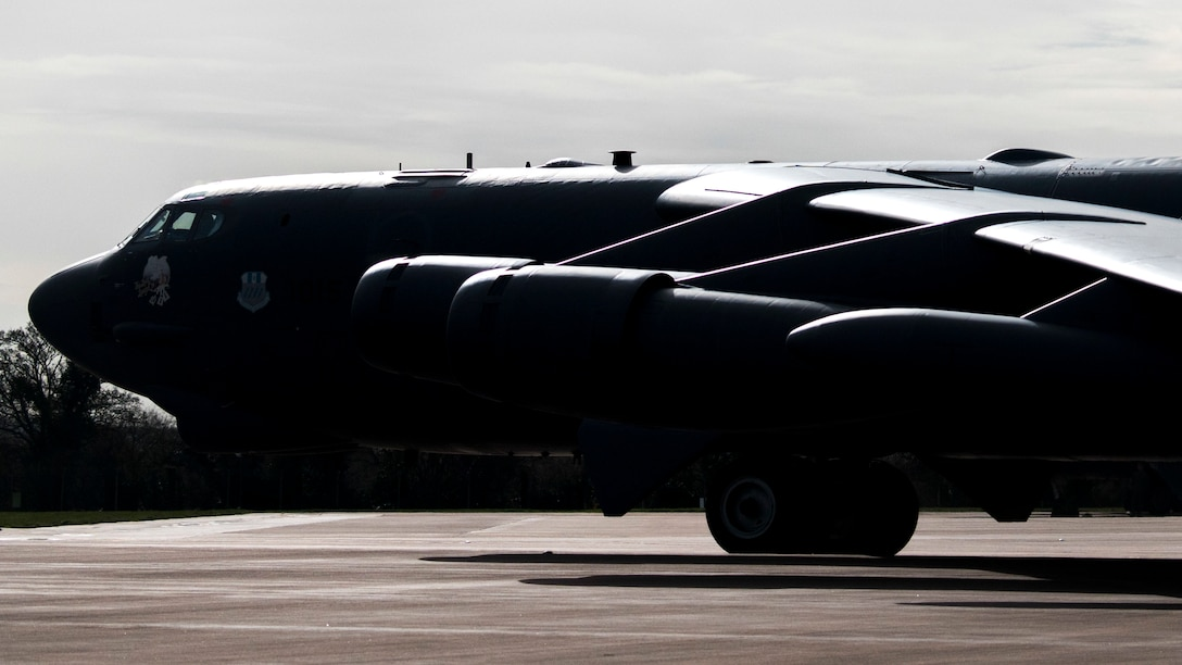 A B-52 Stratofortress deployed from Barksdale Air Force Base, La., taxis the flight line at RAF Fairford, England.