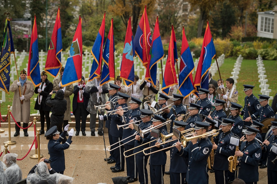 The USAFE Band performs at the Suresnes American Cemetery to honor the centennial of Armistice Day, Paris, France, Nov. 11, 2018. The ceremony was held on the 100th anniversary of the Armistice that took place on the eleventh hour, of the eleventh day, of the eleventh month of 1918, marking the end of World War One.