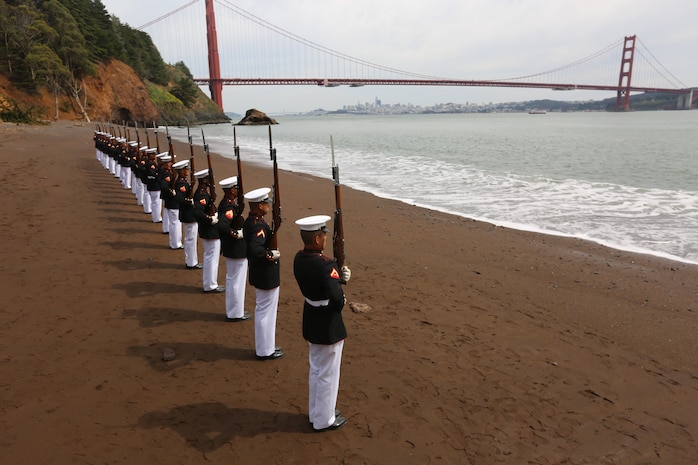 The platoon posed for a photo to recreate images that were taken by previous platoon's at the bridge.