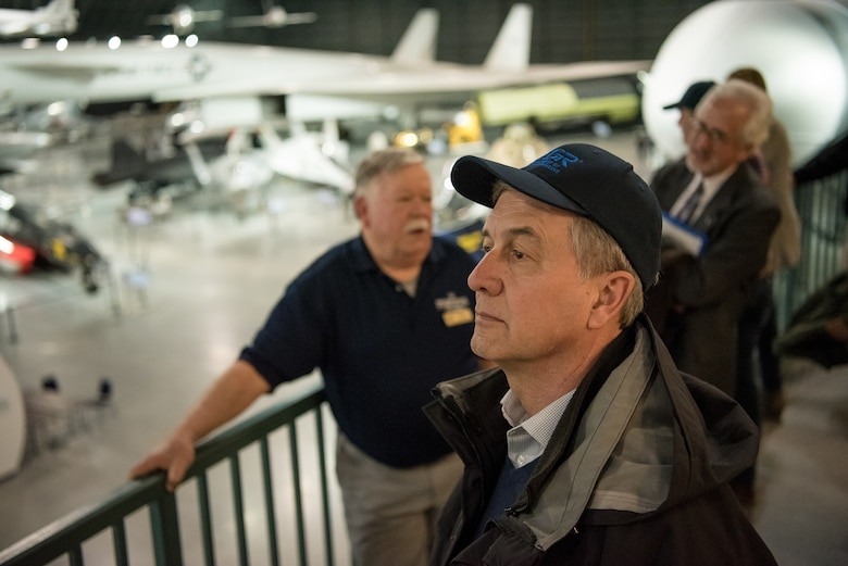 """Civilian employers tour the National Museum of the United States Air Force at Wright-Patterson Air Force Base, Ohio, March 15, 2019, with Airmen from the 123rd Airlift Wing and representatives of the Kentucky Committee for Employer Support of the Guard and Reserve. The employers were participating in an ESGR """"Bosslift,"""" which enhances awareness and understanding between National Guardsmen and the civilian employers for whom they work when they're not on duty. (U.S. Air National Guard photo by Staff Sgt. Joshua Horton)"""