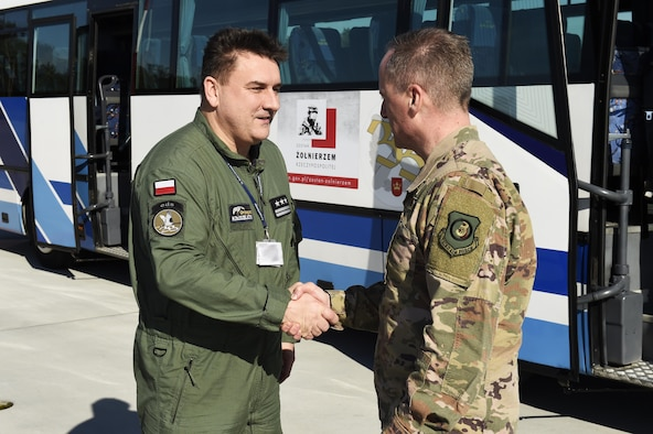 Third Air Force Commander, Command Chief visit Detachment 1 Airmen in Poland