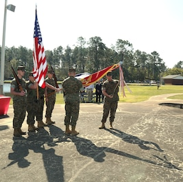 In most cases, the wind is not a friend of a flag bearer. However, Marine Corps Logistics Command's Color Guard stood at attention as the wind whipped the Marine Corps Colors and battle streamers in the air during a ceremony held at Covella Pond aboard Marine Corps Logistics Base Albany, March 21.    Simultaneously, as the organizational colors were being lowered, MARCORLOGCOM's Sgt. Maj. , held the flag so it didn't touch the ground while Brig. Gen. Joseph F. Shrader, commanding general, MARCORLOGCOM, stepped forward and attached the Meritorious Unit Commendation streamer with bronze star in lieu of second award for services in Iraq from 2009 to 2010  Marine Corps units display their lineage and show others what campaigns, operations and battles they have participated in by adding.   Battle streamers a top of Marine Corps Logistics Command's organizational colors waved in the wind .