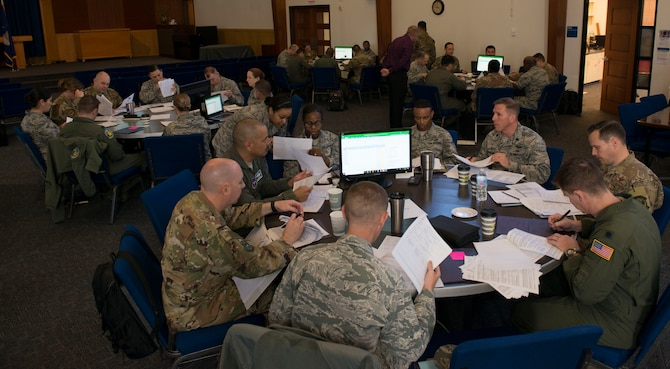 Squadron commanders from across the Air Force discuss the latest policy and process updates for serving on Enlisted Forced Distribution Panels at Joint Base San Antonio-Randolph, Texas, March 19, 2019.