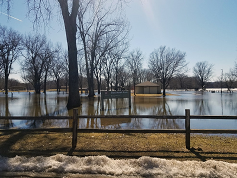 Photo of the park flooded.