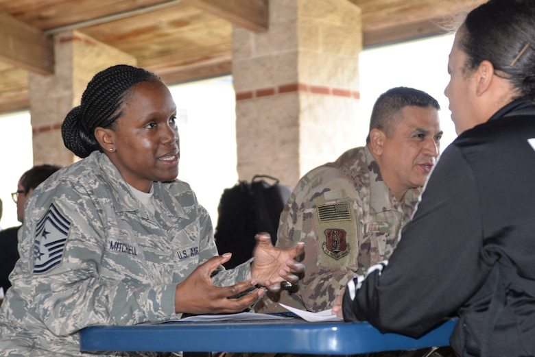 The Command Chief talks with Airmen and pre-basic training Airmen during a mentorship luncheon here March 24, 2019.