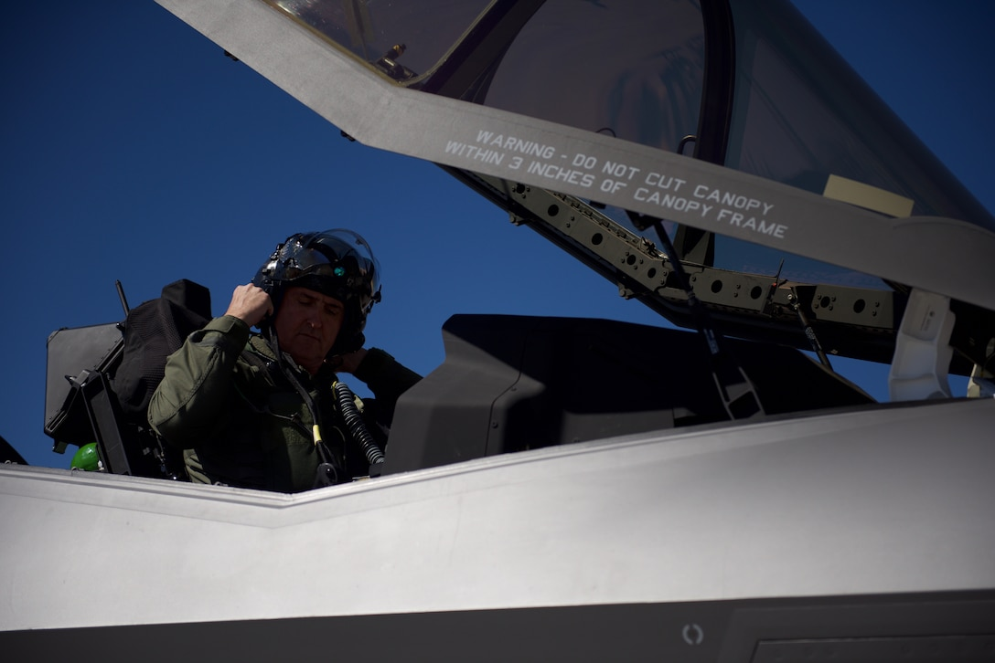Maj. Gen. Peter Gersten, U.S. Air Force Warfare Center commander, prepares to fly with the 62nd Fighter Squadron at Red Flag, exercise 19-2, March 14, 2019, at Nellis Air Force Base, Nev.  Gersten flew an F-35A Lightning II with Italian and Norwegian partners as part of the exercise which highlighted the integration of the 62nd FS and built trust amongst coalition partners.